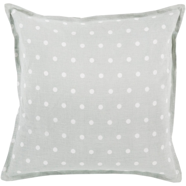 "22"" Light Gray and Milky White Polka Dot Printed Square Throw Pillow - Down Filler"