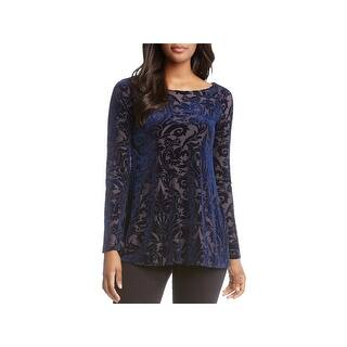 5d6d98c674f Karen Kane Black Floral Print Bell Sleeve Womens XL Chiffon Blouse. Quick  View