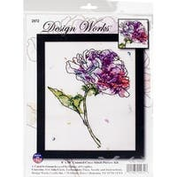 """Lilac Floral Counted Cross Stitch Kit-8""""X10"""" 14 Count"""