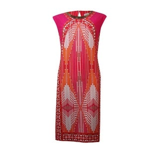 Sandra Darren Women's Neckline Metal Embellished Printed Dress - poppy/pink - 10P