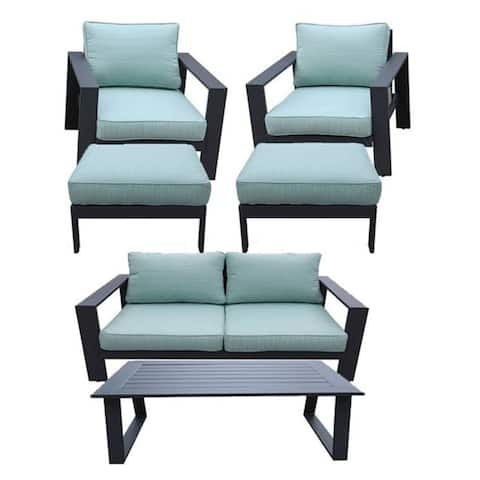 Seaside 6-Piece Outdoor Patio Seating Set by Avery Oaks Furniture - 2x Club Chairs, Loveseat, 2x Ottomans & Coffee Table