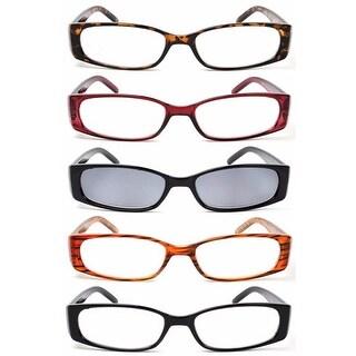 Eye-Max R020211X150 Stylish 1.5X Spring Hinge Plastic Reading Glasses (5 Pairs)