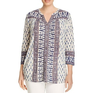 Lucky Brand Womens Plus Peasant Top Geo-Print 3/4 Sleeves