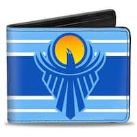 The New Day Icon + Logo Stripe Blues White Bi Fold Wallet - One Size Fits most