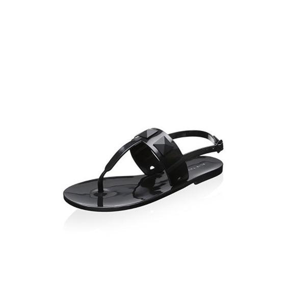 Elie Tahari Cube Black Jelly Sandals
