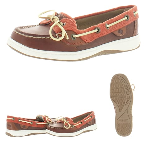 Sperry Women's Angelfish Varsity Leather Moc Toe Slip On Boat Shoes - Brown/Rust
