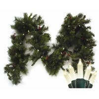 9' Pre-Lit LED Battery Operated Anchorage Fir Christmas Garland - Warm White Lights - green