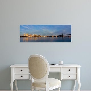 Easy Art Prints Panoramic Image 'Delaware River from Camden New Jersey of Philadelphia, PA at sunrise' Canvas Art