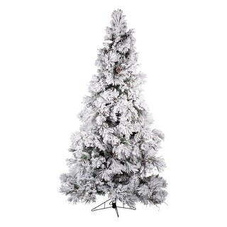 7.5' Snow White and Green Frosted Prelit Medium Pine Artificial Christmas Tree