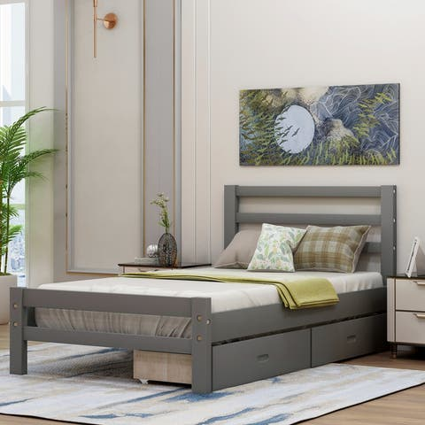 AOOLIVE Pine Wood Platform Bed with Two Drawers, Twin, Grey