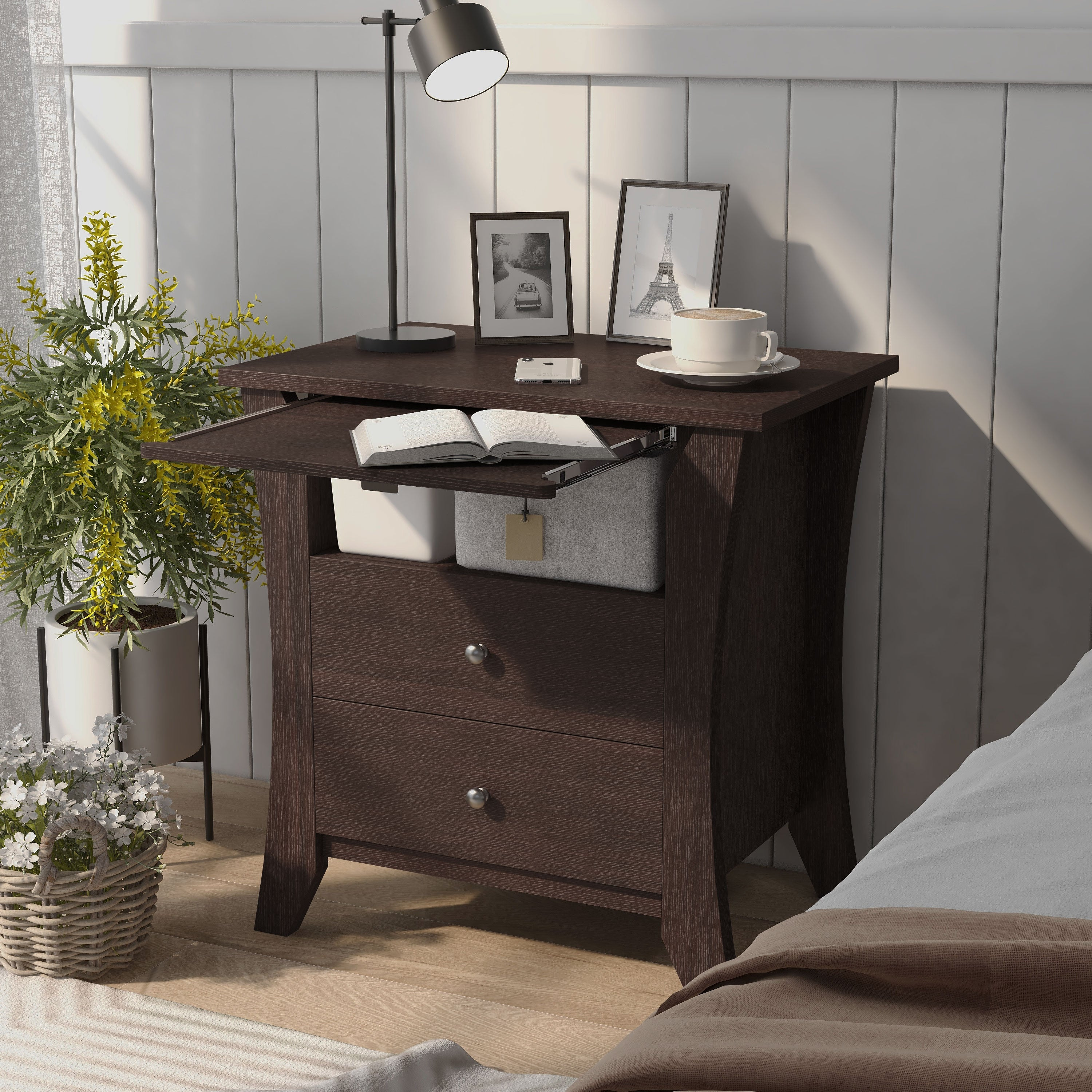 Furniture Of America Mendolla Modern Espresso 2 Drawer Nightstand On Sale Overstock 20460884