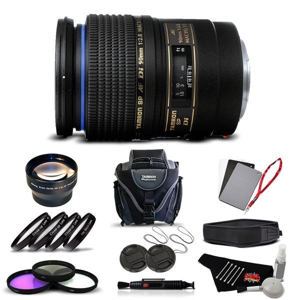 Tamron SP 90mm f/2.8 Di Macro Autofocus Lens for Canon International Version (No Warranty) Advanced Kit - black
