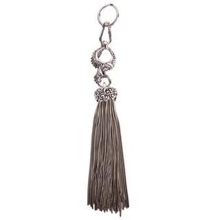 Roberto Cavalli Silver Hawk and Chain Tassel Keychain