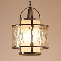 """Luxury Art Deco Pendant Light, 18.25""""H x 11.75""""W, with Nautical Style, Brushed Nickel Finish by Urban Ambiance"""
