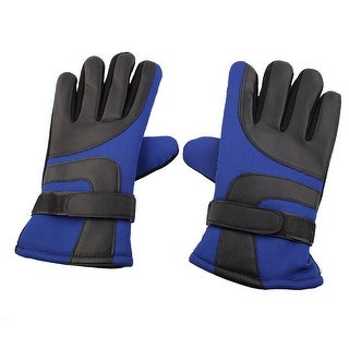 Electric Car Faux Leather Anti-skid Adjustable Warm Gloves Blue Black Pair