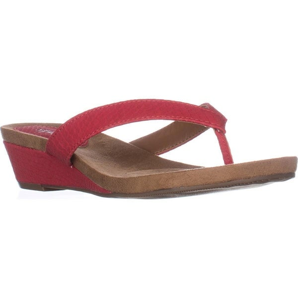 SC35 Haloe2 Wedge Thong Sandals, Red Hot