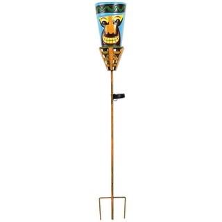 "Outdoor Tiki Torches - Solar Powered LED Light - Metal Yard Art - 48"" High - Big Orange Nose - Multi-Colored"
