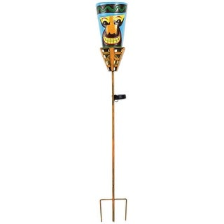 """Outdoor Tiki Torches - Solar Powered LED Light - Metal Yard Art - 48"""" High - Big Orange Nose - multi-colored - 48 in. x 7 in."""
