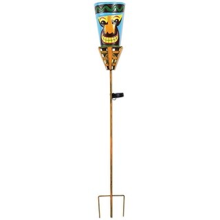 "Outdoor Tiki Torches - Solar Powered LED Light - Metal Yard Art - 48"" High - Big Orange Nose - Multi-Colored"