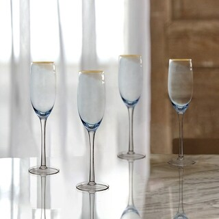 Fifth Avenue Crystal Vivienne Champagne Flutes in Blue and Gold