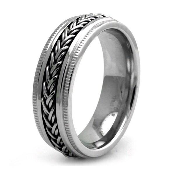 Stainless Steel Rope Chain Biker Ring