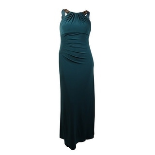 Xscape Women's Beaded Halter Scoop-Back Jersey Gown (14, Emerald) - 14