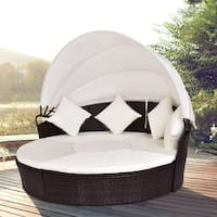Costway Outdoor Patio Canopy Cushioned Daybed Round Retractable Rattan Furniture Set
