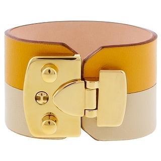 Stamerra BOSSA GIALLIO Sunflower Genuine Leather Cuff Bracelet