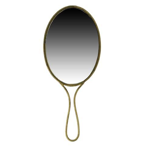 Vintage Style Oval Metal Encased Hand Mirror, Brass