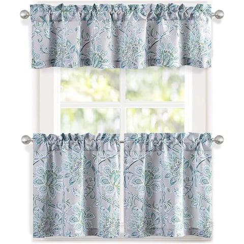 DriftAway Alyssa Sketch 3 Pieces Rod Pocket Kitchen Window Curtain - 58''×14''×1+29''×24''×2