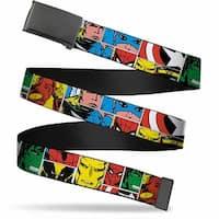 Marvel Comics Blank Black Buckle Marvel Superhero Comic Blocks Web Belt