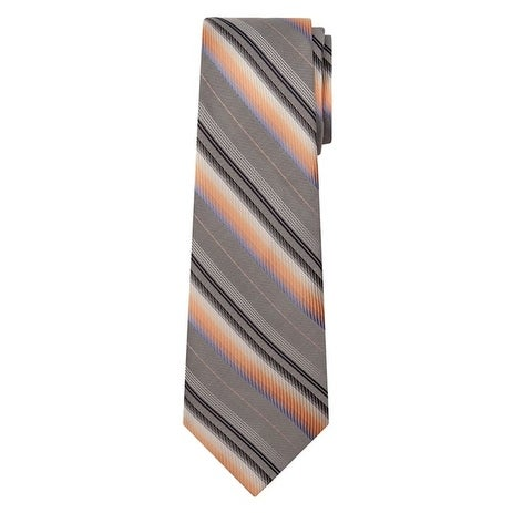 Marquis Men's Gray And Orange Stripes 3 1/4 Tie & Hanky Set TH100-031