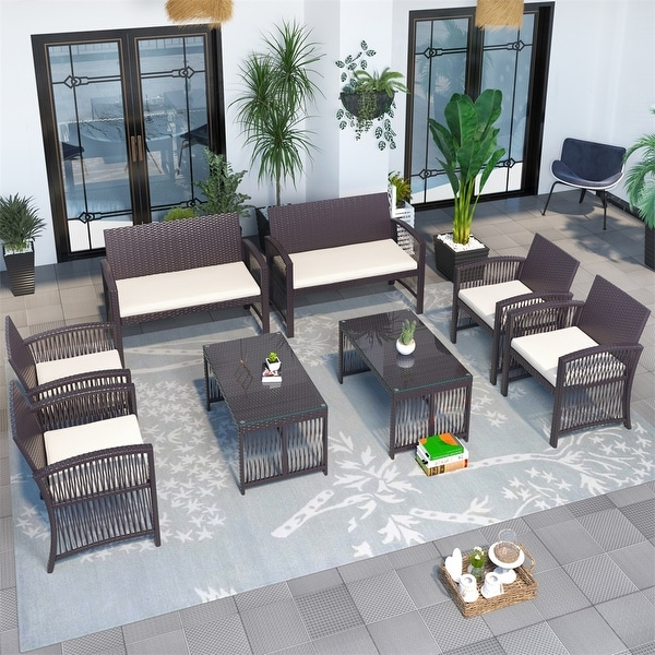 8 Pieces Outdoor Furniture Rattan Chair & Table Patio Set Outdoor Sofa for Garden. Opens flyout.
