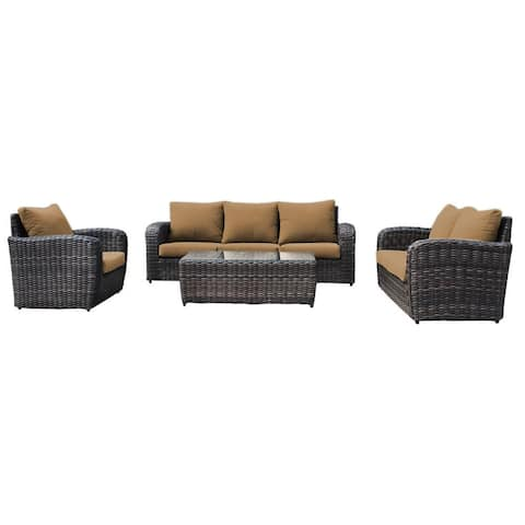 Acapulco Outdoor 4-Piece Patio Furniture Deep Seating Set Wicker Rattan Includes Brown Olefin Cushions