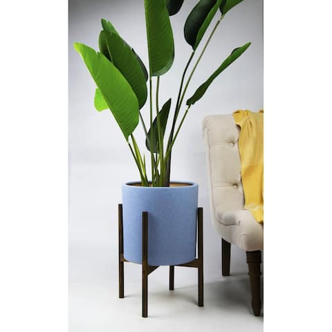 UPshining 13'' Extra Large Mid-Century Modern Ceramic Planter Sky Blue With Wood Stands