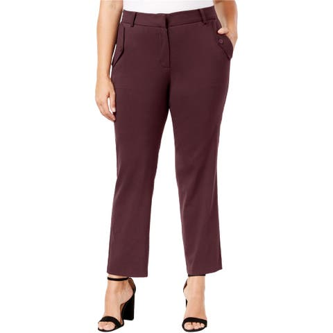 NY Collection Womens Pocket Detail Dress Pants, red, 1X
