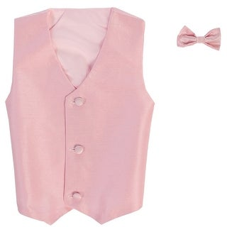 Baby Boys Pink Poly Silk Vest Bowtie Special Occasion Set 3-24M