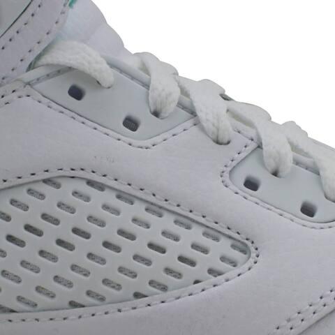 Nike Air Jordan V 5 Retro White/Crimson Pulse-Light Aqua 440892-100 Grade-School