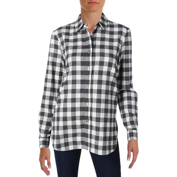 Shop Jenni Kayne Womens Boyfriend Shirt Button-Down Top Flannel Side ... db7c433f6f