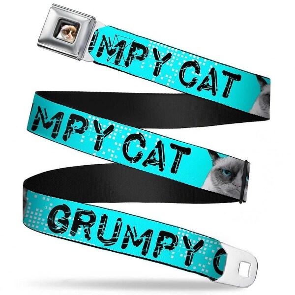 Grumpy Cat Face Full Color Black Grumpy Cat Scratched W Face Close Up Seatbelt Belt