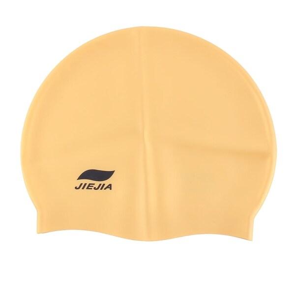 Athletes Silicone Dome Design Elastic Swim Training Cap Hat Swimwear Orange