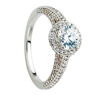 MADELEINE Halo Style Four Prong Palladium Engagement Ring with Round Stone Setting - MADE WITH SWAROVSKI® ELEMENTS - White