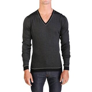 Prada Men's Virgin Wool Silk Striped V-Neck Sweater Black