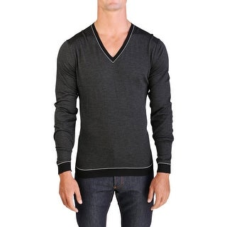 Prada Men's Virgin Wool Silk Striped V-Neck Sweater Black