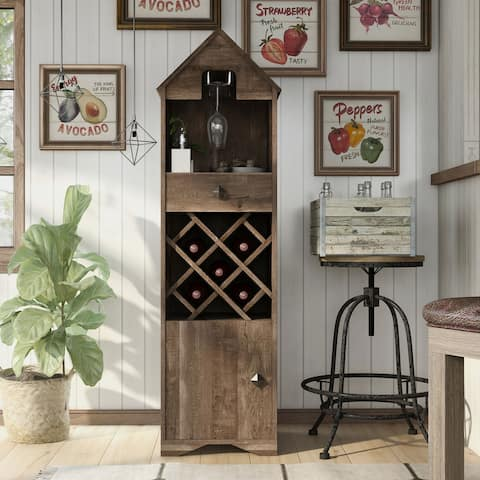 Furniture of America Valko Rustic Reclaimed Oak Wine Rack