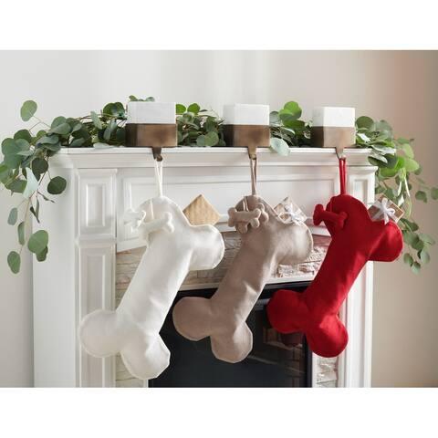 """SAFAVIEH Holiday Chestnut Dog Bone Hanging Stocking (Set of 3) - 12"""" W x 20"""" L"""
