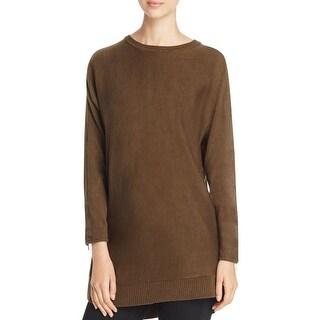 Love Scarlett Womens Tunic Sweater Suede Trim Ribbed Trim