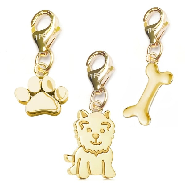 Julieta Jewelry Dog, Paw, Dog Bone 14k Gold Over Sterling Silver Clip-On Charm Set