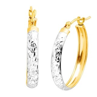 Just Gold Etched Hoop Earrings with Rhodium in 14K Gold - Two-tone