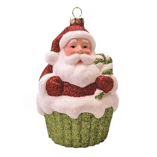 """4"""" Merry & Bright Red, White and Green Glitter Shatterproof Santa Claus Cupcake Christmas Ornament - RED"""